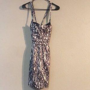 Grey White Black Bebe Size XS Mini Dress